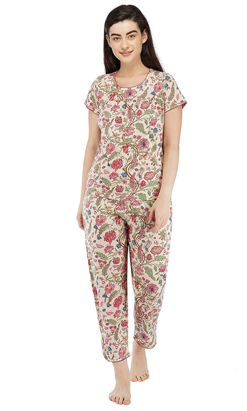 Women's Cotton All Over Floral Print Pajama Set