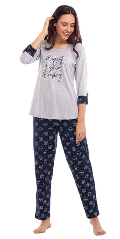 Women's Cotton Grey Floral Print Night Suit Set