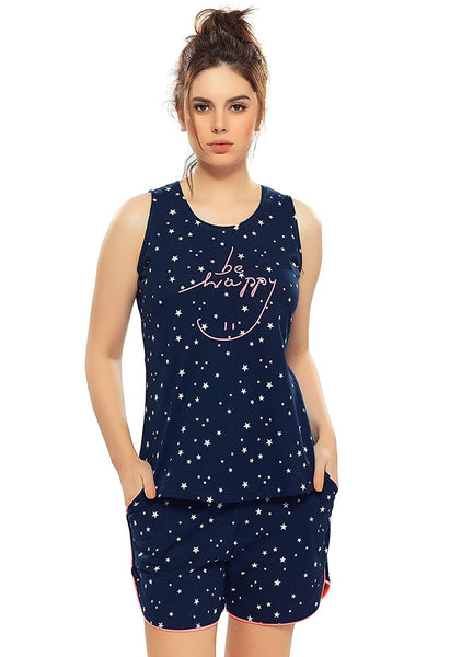 Women's Cotton Navy Blue & Brown Star Print Night Suit Set | Top & Shorts for Women