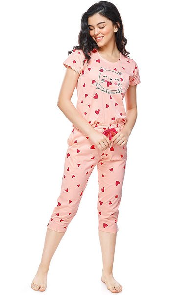 Women's Cotton Heart Printed Stylish Night Suit Set | Top & Capri for Women