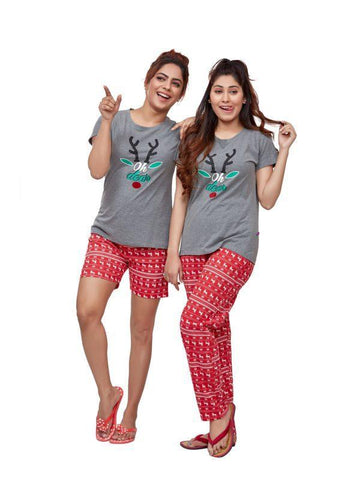 Women's Cotton Grey & Red Heart Print Night Suit