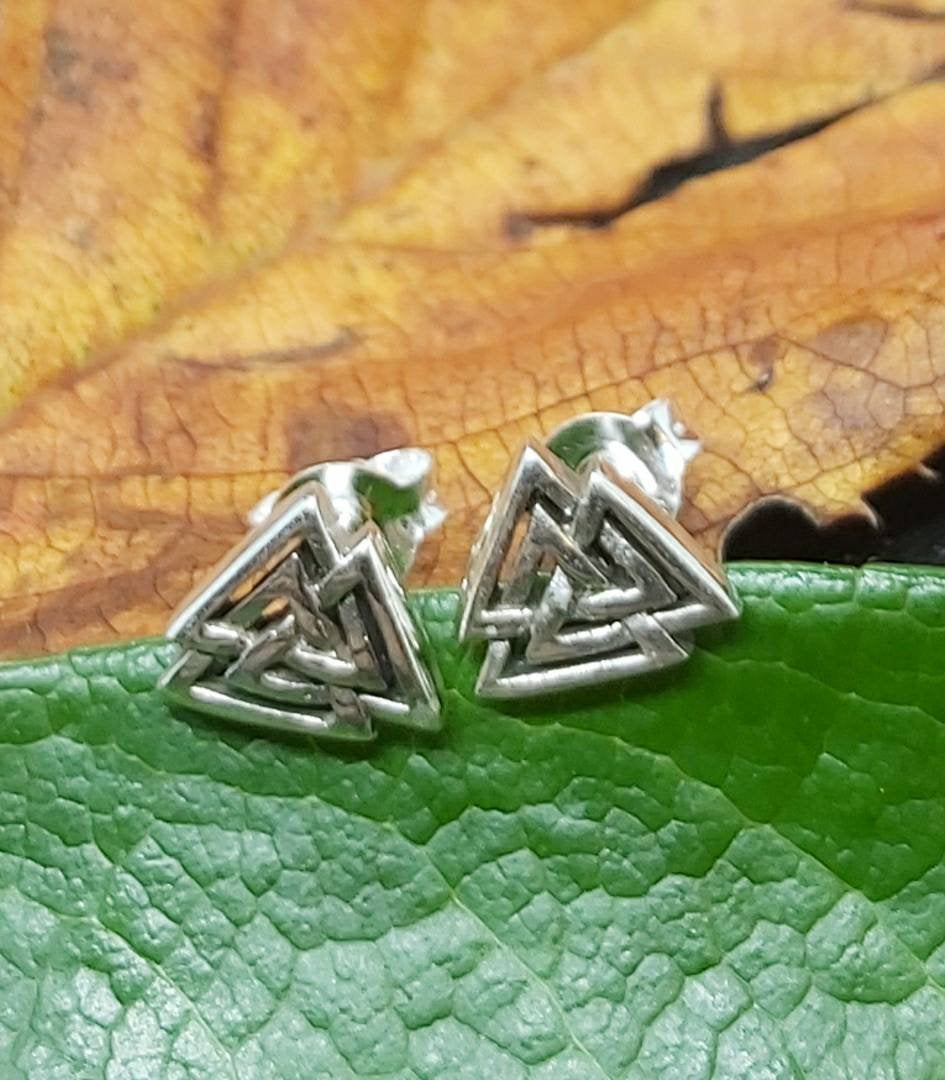 Silver Viking Valknut Studs  Pagan Spiritual Handmade Jewellery Ancient Sterling Silver Norse Mythology Earrings - Arts and Beauty Ltd