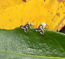 Load image into Gallery viewer, Silver Celtic Trinity Studs  Pagan Spiritual Handmade Jewellery Ancient Sterling Silver Earrings - Arts and Beauty Ltd