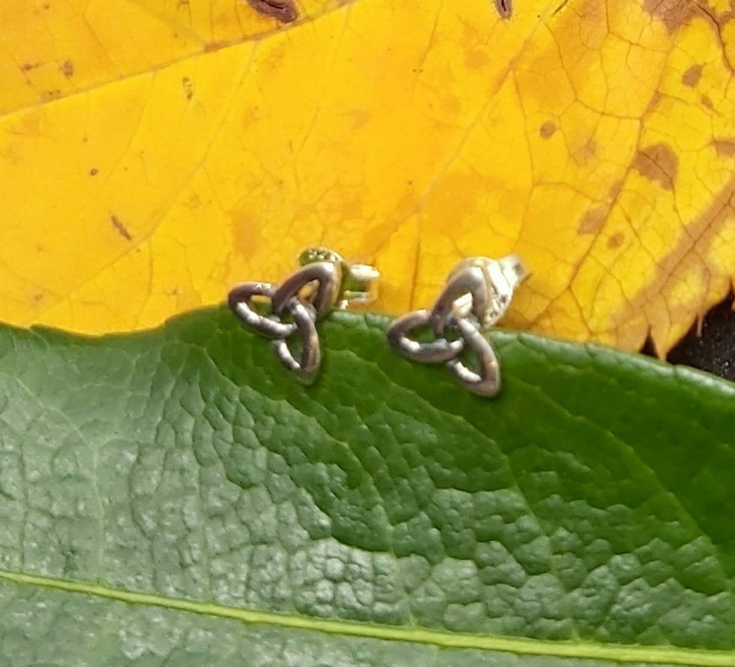 Silver Celtic Trinity Studs  Pagan Spiritual Handmade Jewellery Ancient Sterling Silver Earrings - Arts and Beauty Ltd
