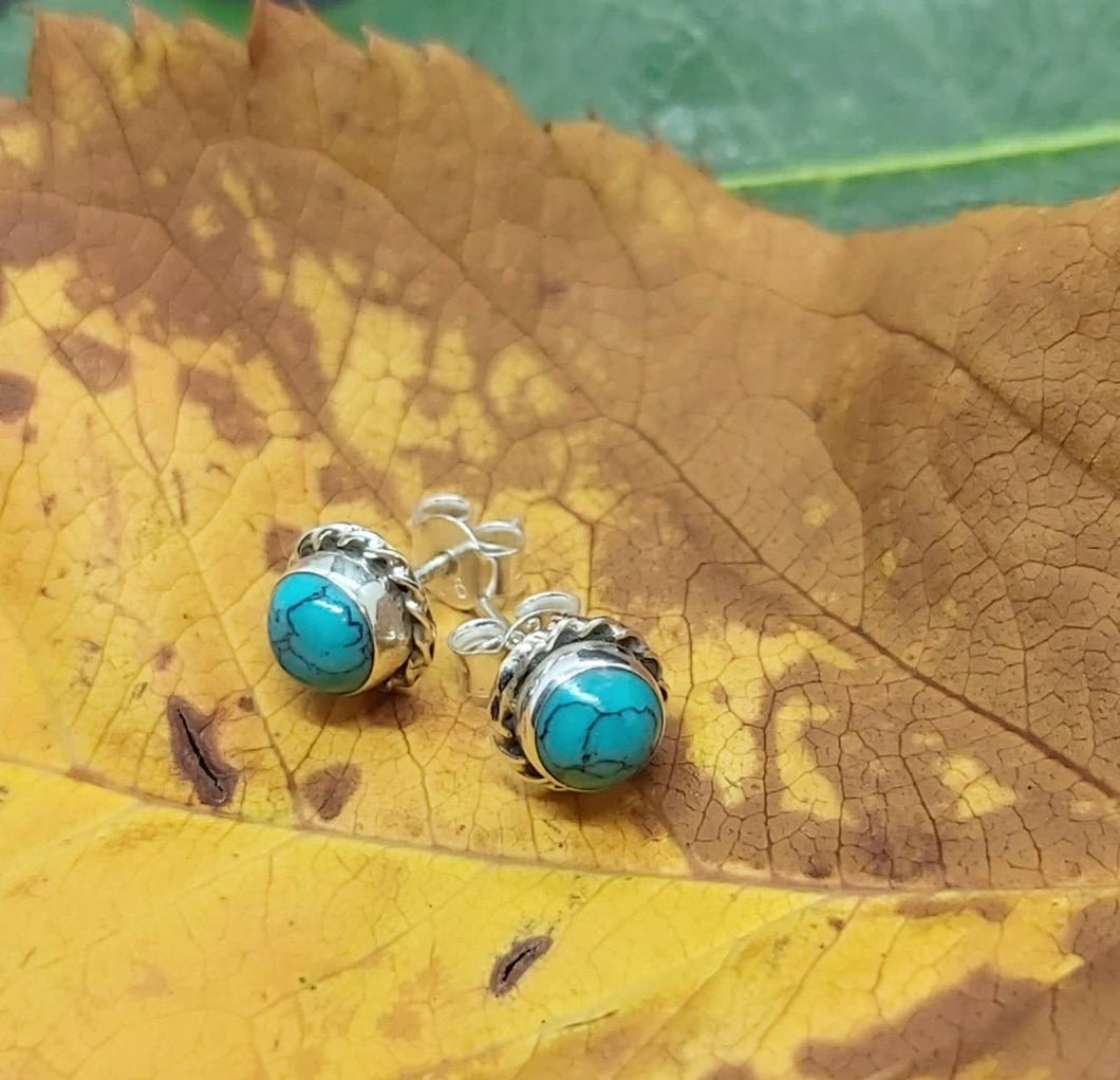 Sterling Silver Studs with Circle Turquoise stone and Silver Rope around Unique Ancient Craft - Arts and Beauty Ltd