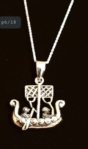 925 Sterling Silver Viking Ship Pendant Necklace Spiritual Pagan Viking Silver Jewellery 18 inches Silver Chain - Arts and Beauty Ltd