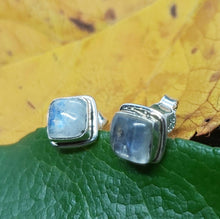 Load image into Gallery viewer, Silver Ancient Square Studs with Labradorite Stone Pagan Medieval Spiritual Handmade Jewellery Sterling Silver Earrings - Arts and Beauty Ltd