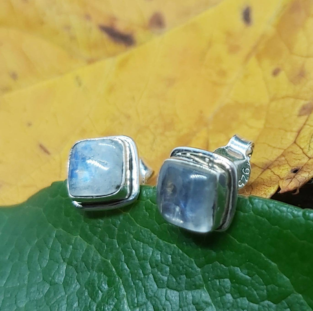 Silver Ancient Square Studs with Labradorite Stone Pagan Medieval Spiritual Handmade Jewellery Sterling Silver Earrings - Arts and Beauty Ltd