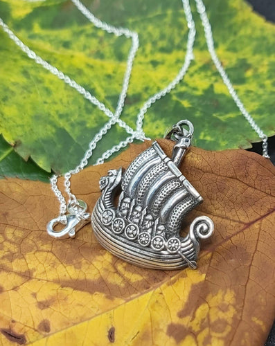 Sterling Silver Viking Ship Pendant Necklace 20