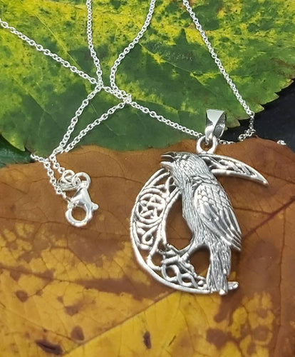 Silver Moon Crow Raven Witchcraft Gotic Pagan Necklace  with 18 inches Chain and Free Gift Box Ancient Sterling Silver Jewellery Last One - Arts and Beauty Ltd