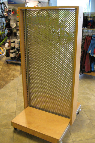 Two-Way Retail Fixture With Wood Trim