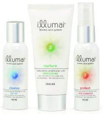 Photo of illumai travel-size shampoo, conditioner, and leave-in spray