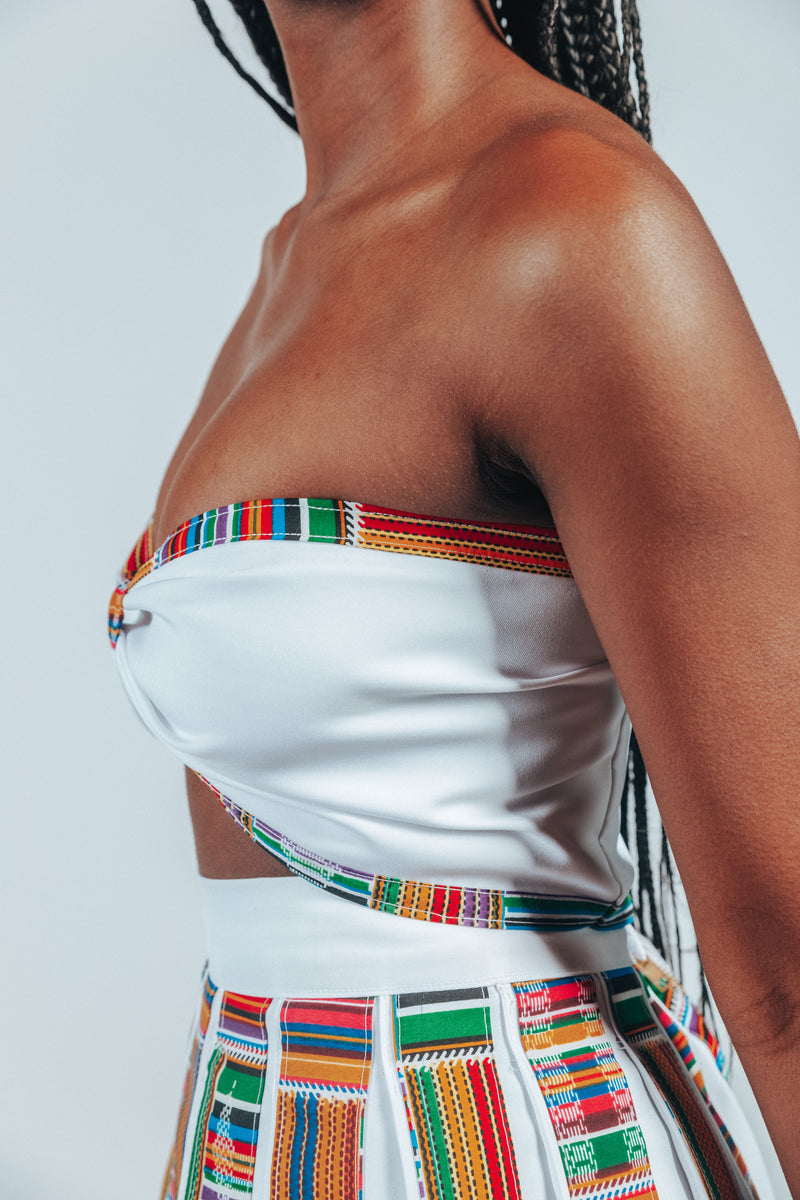 UMPIRE WHITE/KENTE CROP