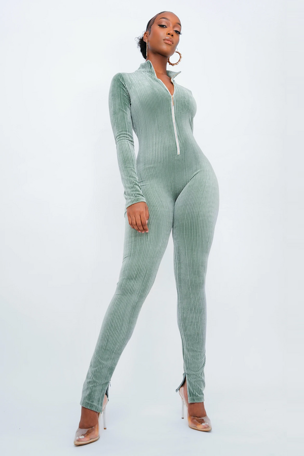 Green Pleated Jumpsuit: PRE ORDER