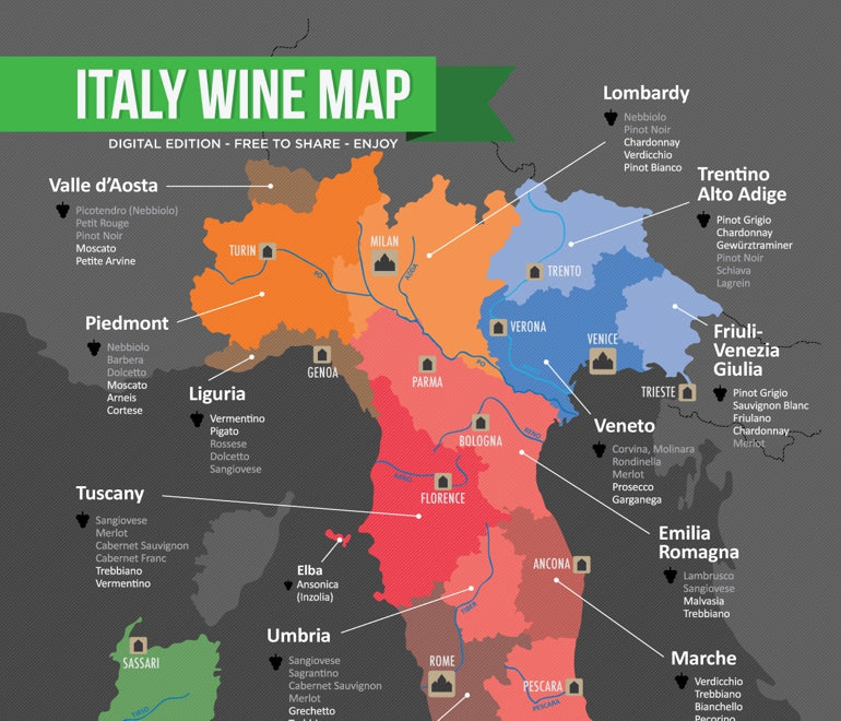 Northern Italy Wine Map