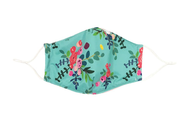 Care Cover Teal Floral Mask