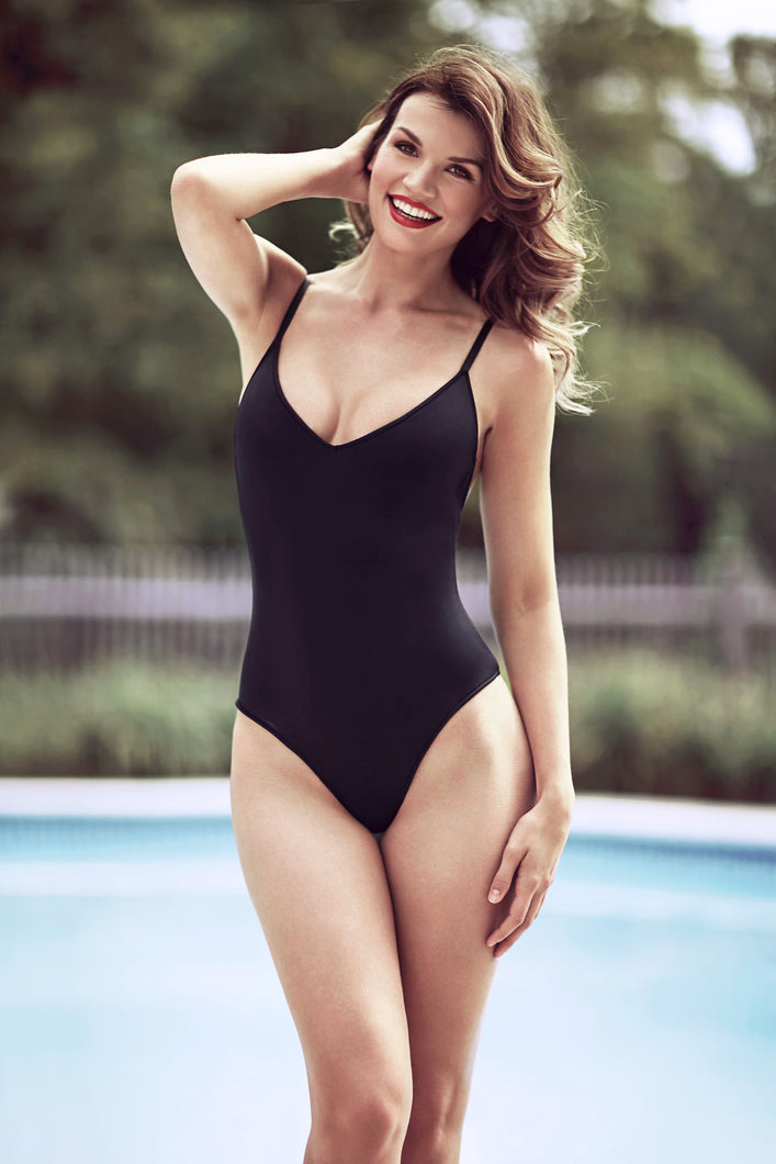 Black neoprene swimsuit suit, one piece