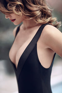 Deep V-shape swimsuit suit, one piece