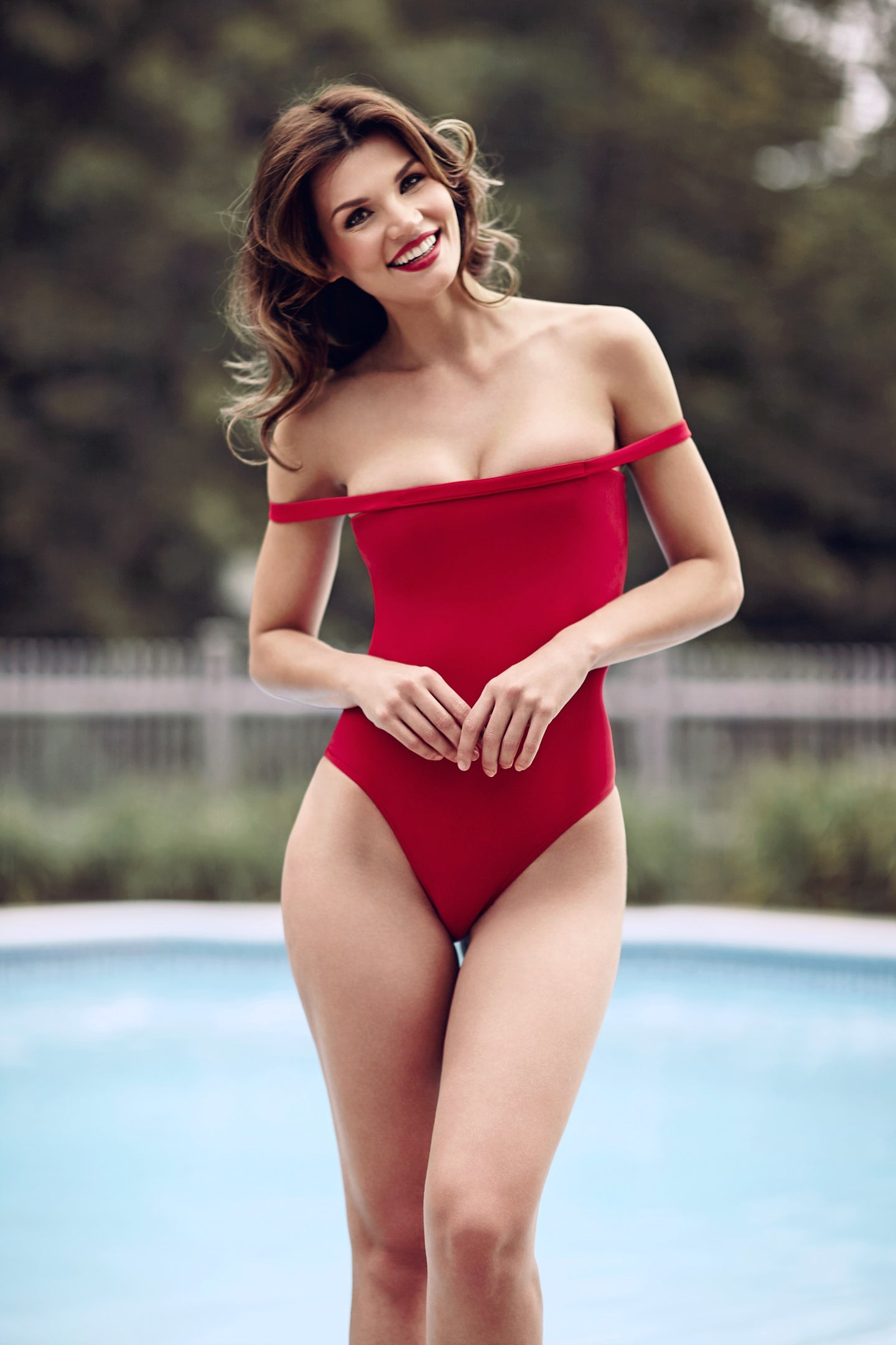 Gorgeous red swimsuit suit, one piece