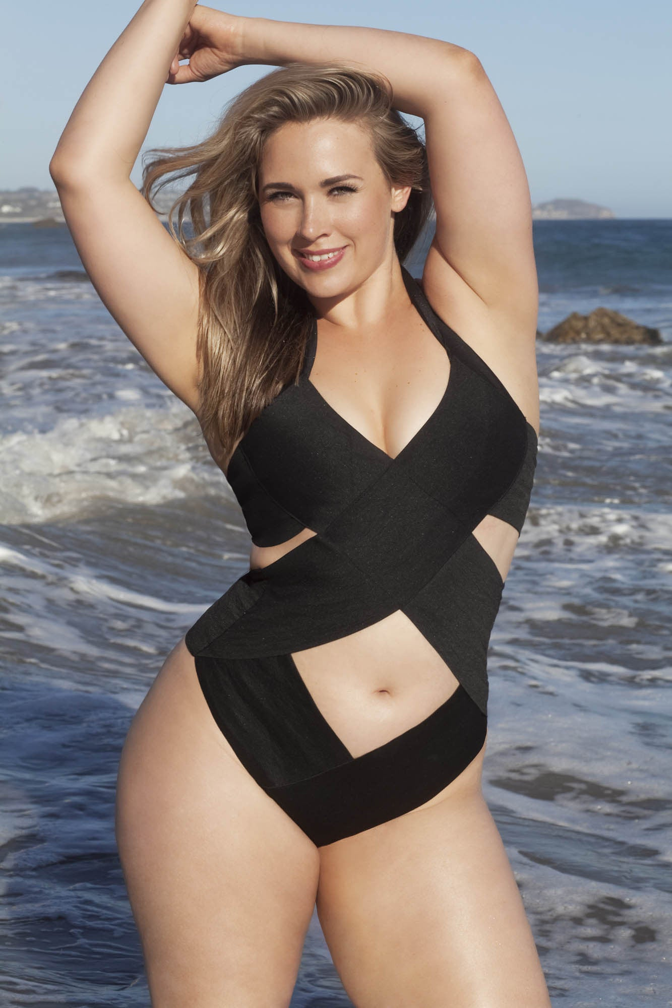 X+ Style. Plus size Bandage criss cross swimsuit suit, one piece - LILYSH