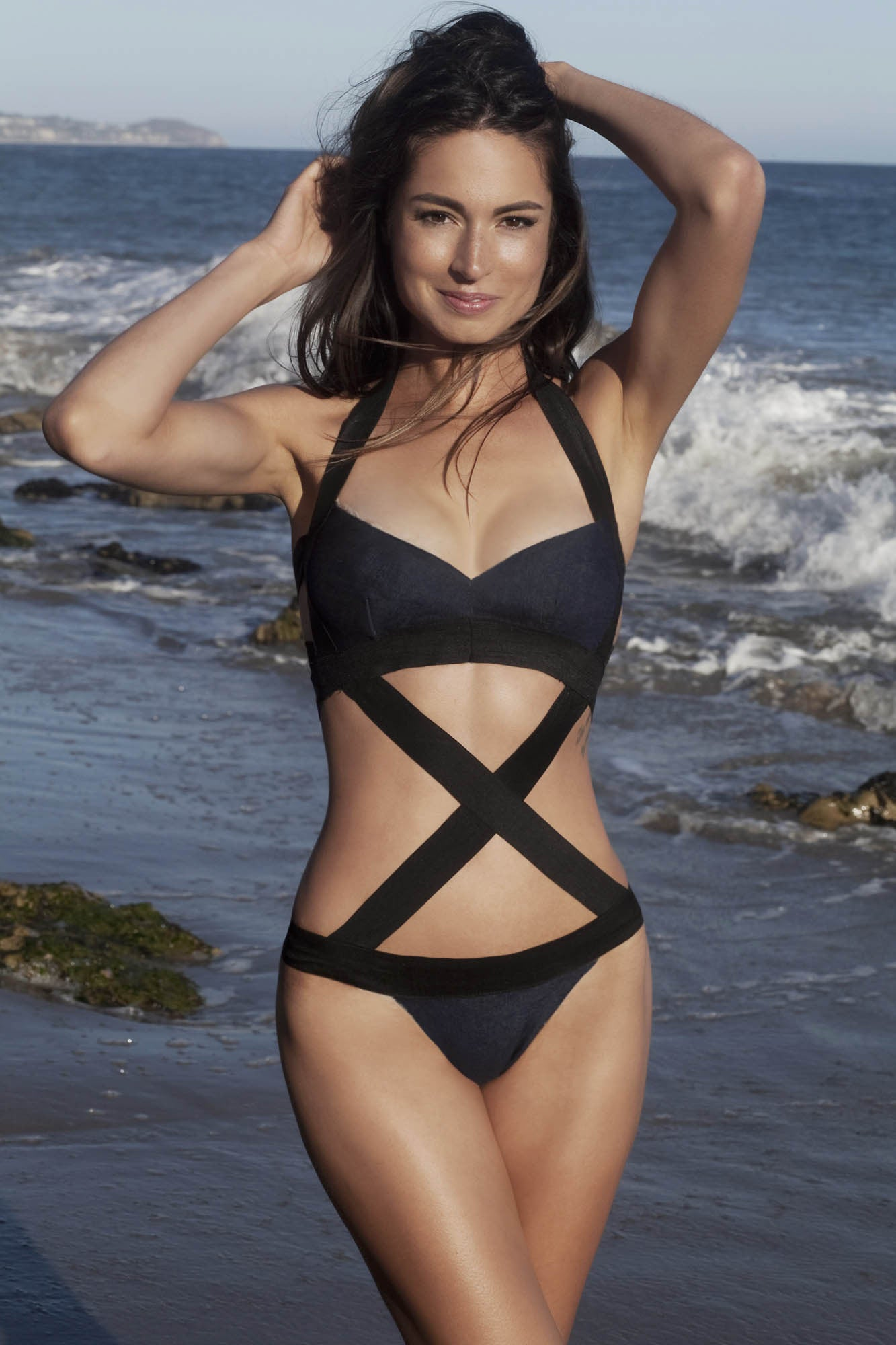 W Style. Bandage/jeans criss cross swimsuit suit, one piece - LILYSH