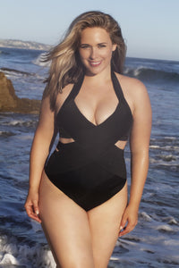 B+ Style. Plus size Bandage criss cross swimsuit suit, one piece - LILYSH
