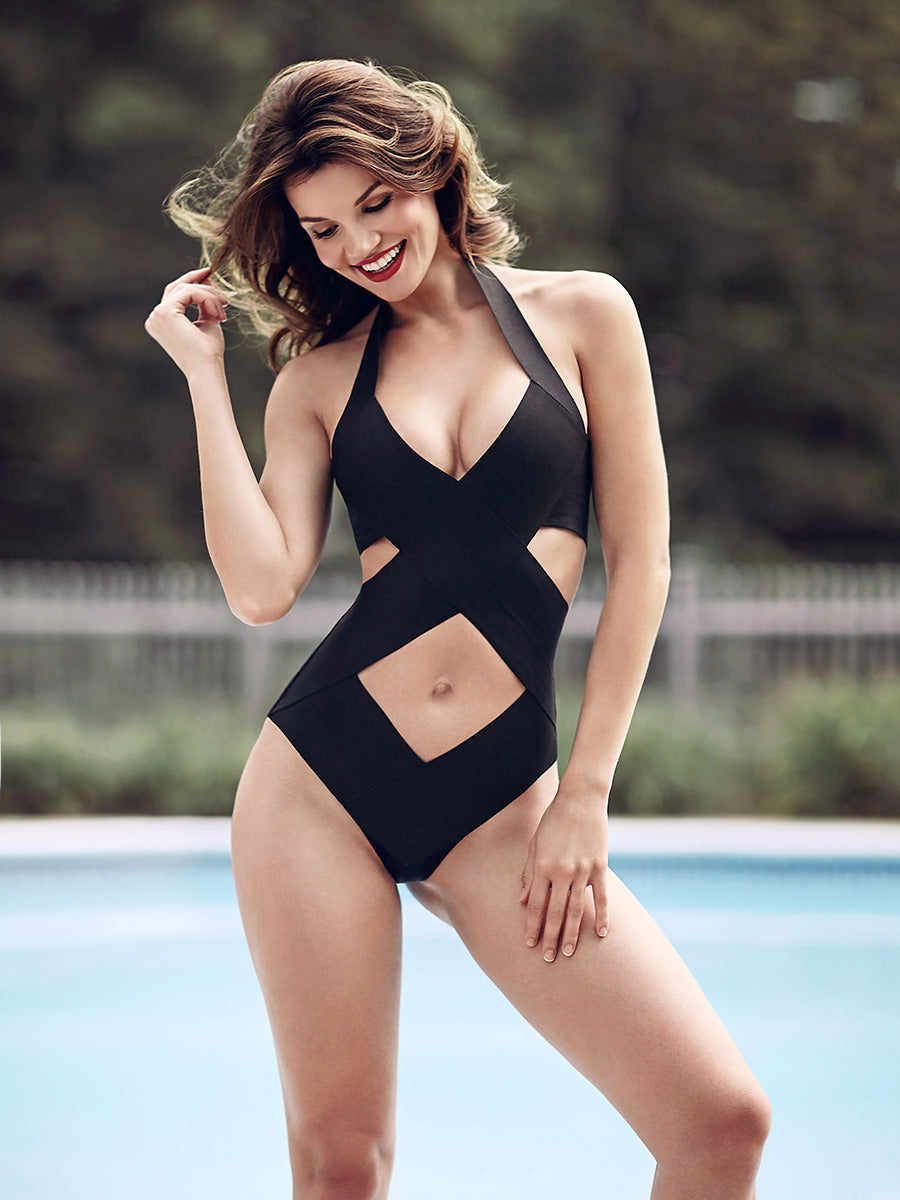 Criss cross Bandage swimsuit suit Brazilian bottoms, one piece