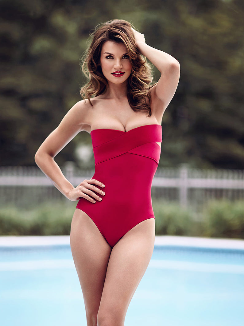 Red bandeau swimsuit suit, two piece