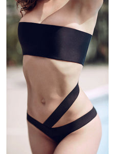 Rockstar Cross body black bandage swimsuit suit, one piece Brazilian bottoms