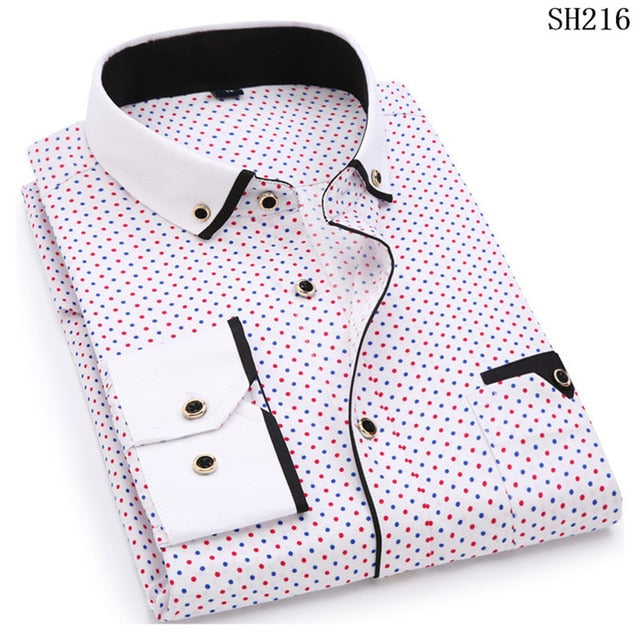 Casual Men Long Sleeve  Stitching Shirt