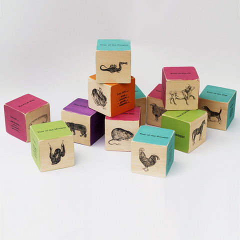 Birth Blocks - Brights with Vintage Animals