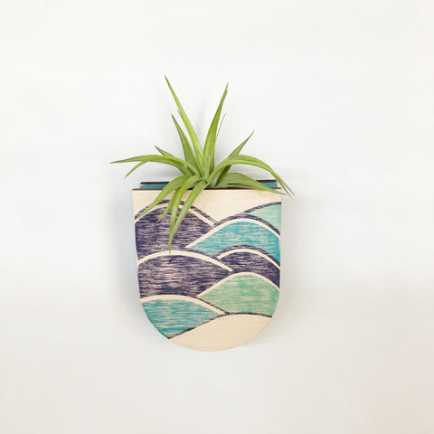 Mod Waves Pocket Wall Planter Vase