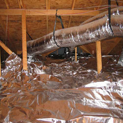 radiant barrier installed on attic floor