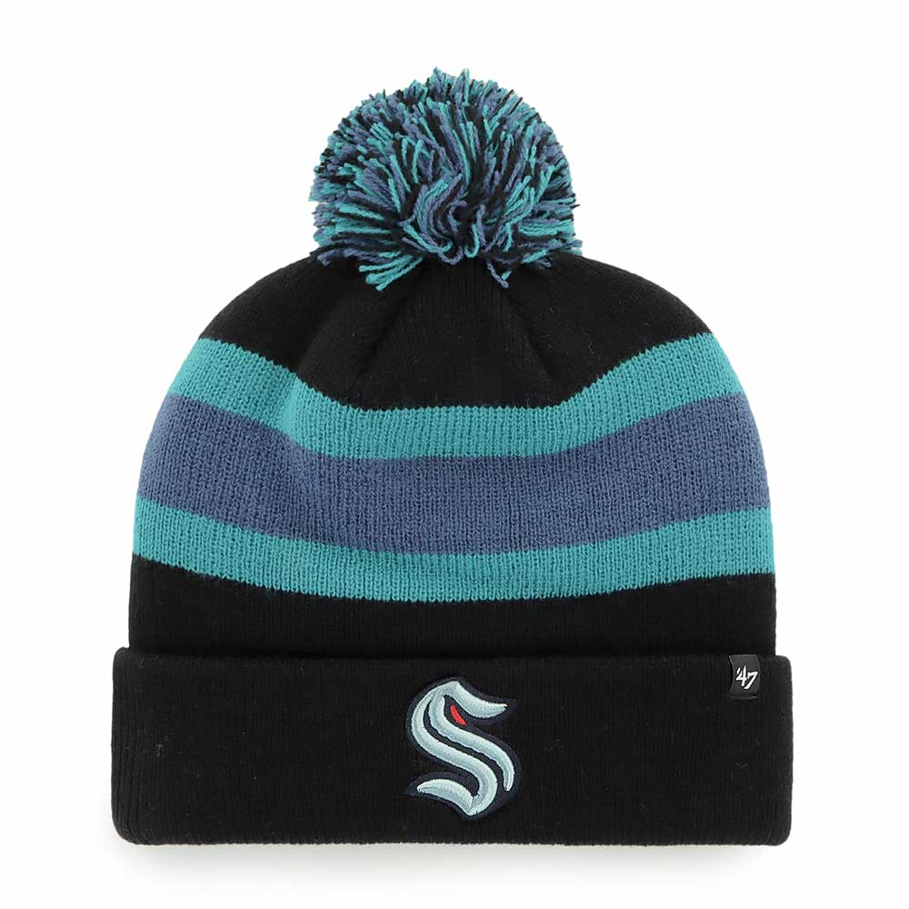 Seattle Kraken Black Breakaway Cuff Knit Beanie - Front