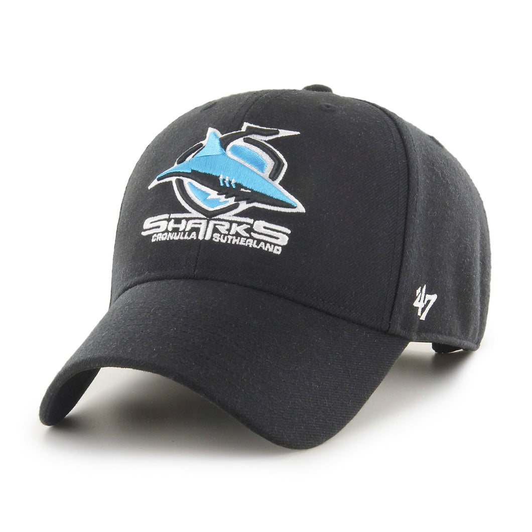 Cronulla-Sutherland Sharks Black '47 MVP Snapback with club logo on front peak