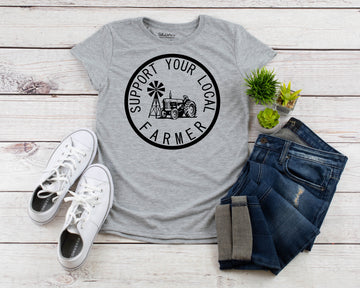 Ladies Fitted Support Your Local Farmer Tractor Tee