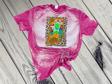 Indiana Sunflower & Cactus Bleached Tee - Pink
