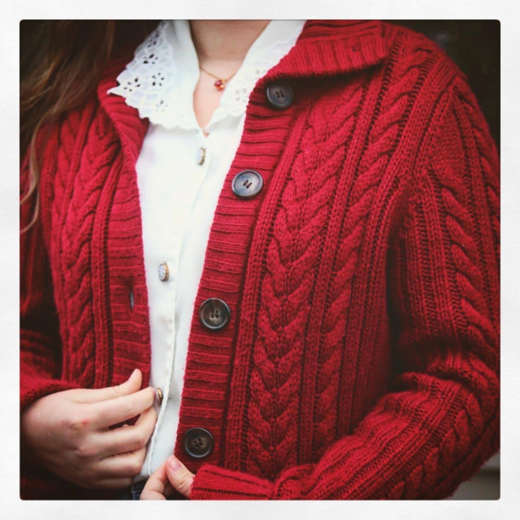 Chunky Red Knit Cardigan