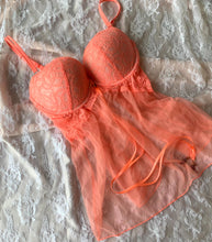 Load image into Gallery viewer, Coral Lacy Push-Up Babydoll