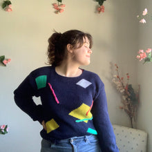 Load image into Gallery viewer, Vintage Geometric Navy Sweater