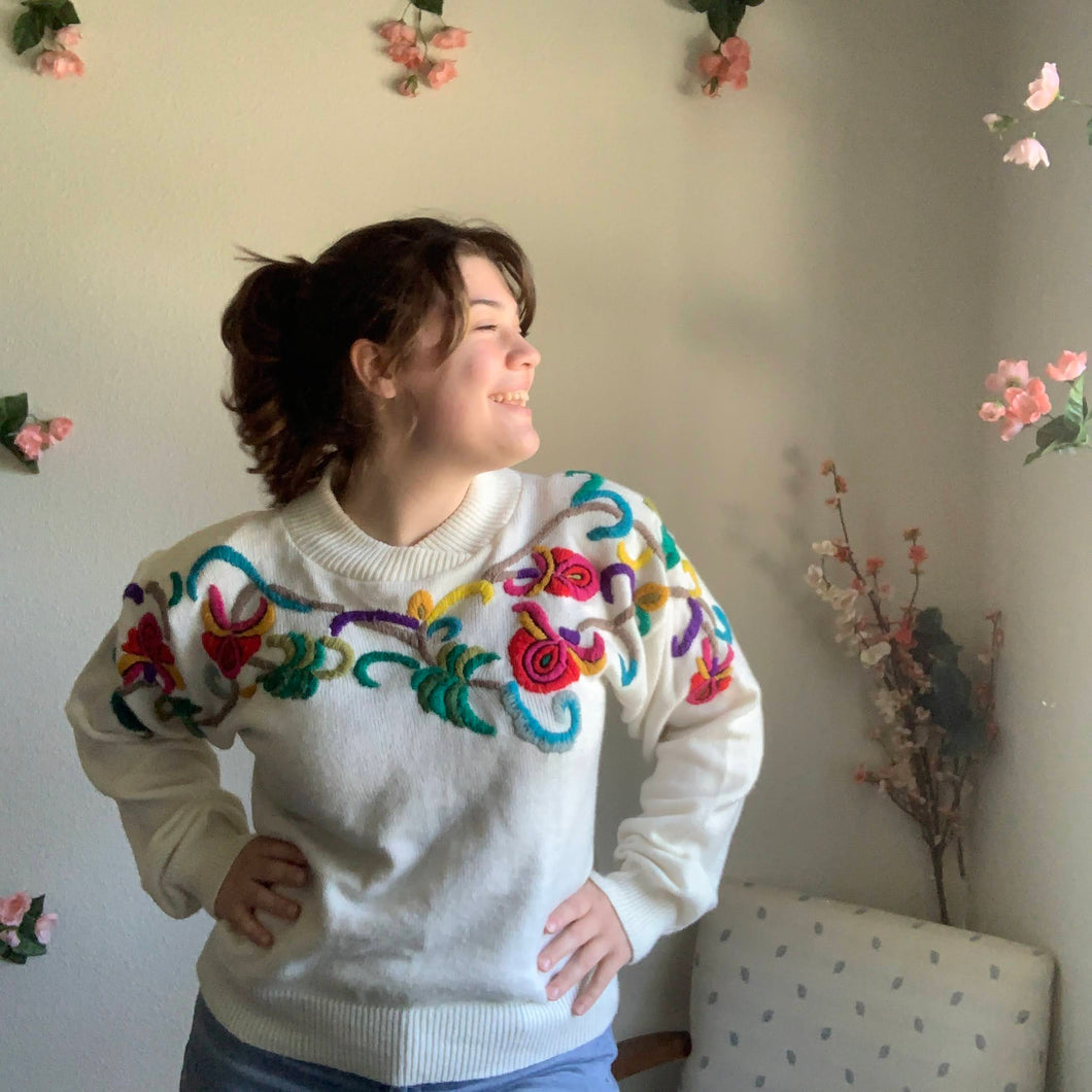 Vintage Maurada Rainbow Curly Q Sweater