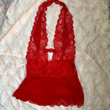 Load image into Gallery viewer, Red Lacy Halter Teddy