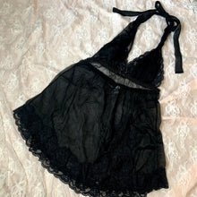 Load image into Gallery viewer, Lace Black Halter Babydoll