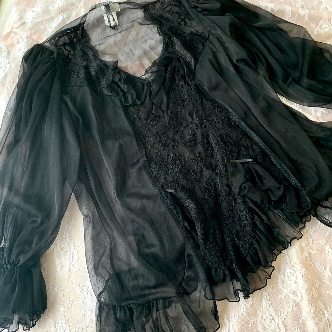Vintage Black Lacy Slip with Sheer Bed Jacket