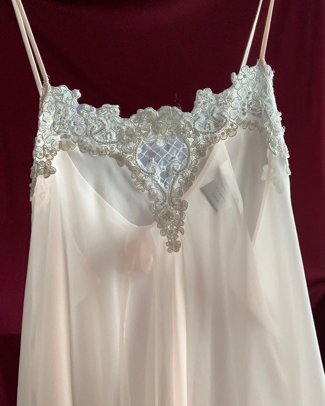 Vintage Sheer Light Pink Slip with Embroidery & Pearls