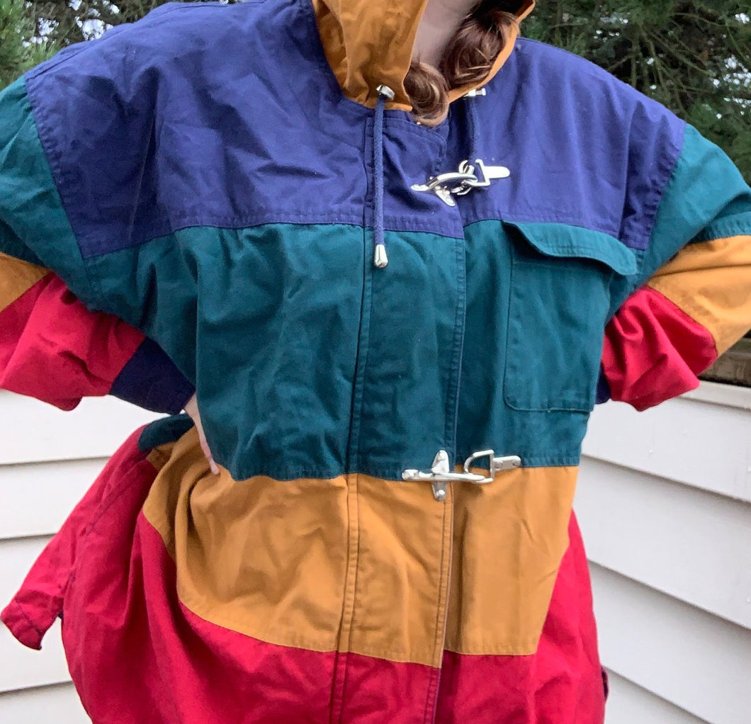 Vintage Laurice Colorblock Jacket With Flannel Inside