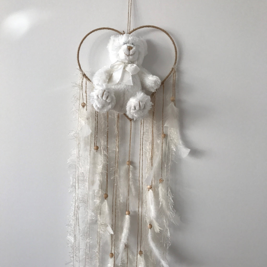 DreamCatchers/Wall Hangings - White/Twine with Feathers