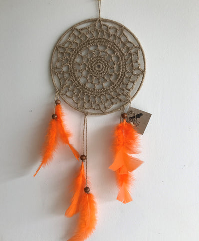 Dreamcatchers/Wall Hangings - Twine with Orange Feathers Beads