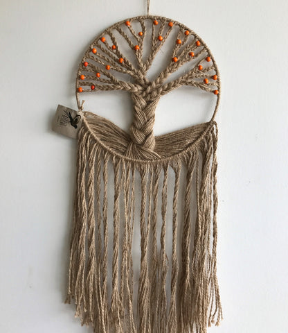 Dreamcatchers/Wall Hangings - Tree of Life Twine with Orange Beads
