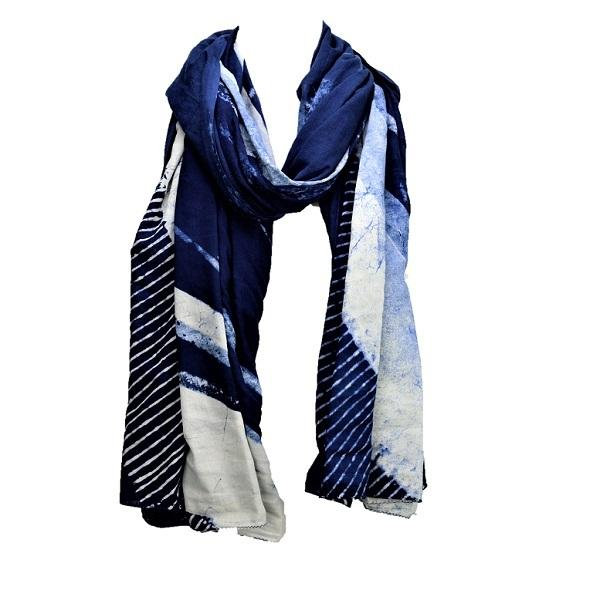 Serenity Indigo long luxurious cotton handprinted scarf